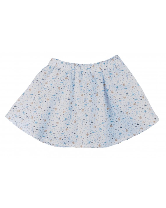 Jupe short Odette Coquillages bleu